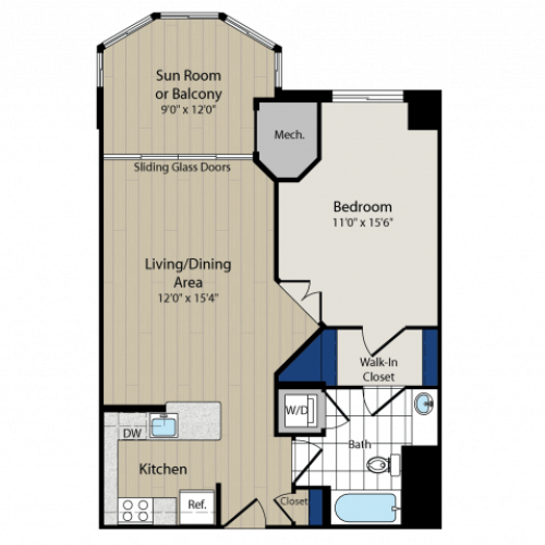 Floor Plan 1 | Luxury Apartments In Arlington VA | Meridian at Ballston Commons