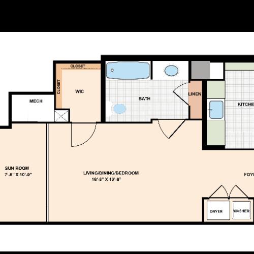 Unique Studio Apartment 402 Floor Plan | Meridian at Eisenhower Station | Apartments Alexandria