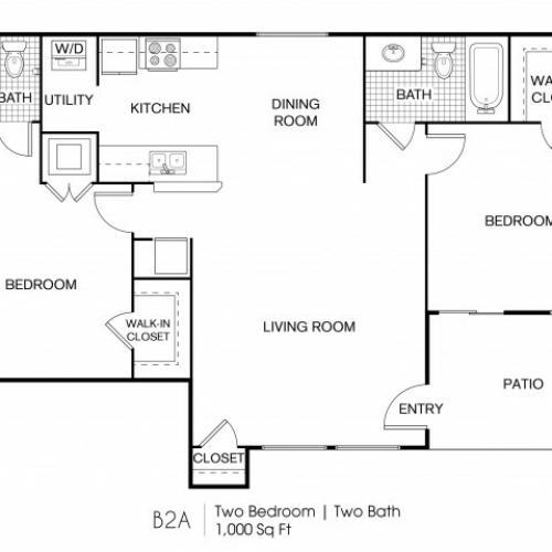 2 Bedroom | 2 Bath 1000 Sq Ft