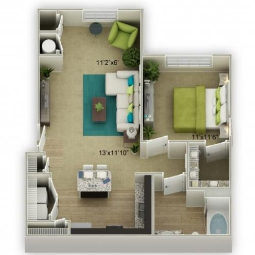 Legends at Azalea 1 Bedroom Azalea Floor Plan with Sunroom image
