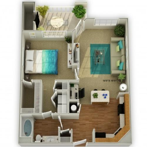 Photo of The Meadowview One Bedroom Floor Plan