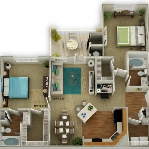 Photo of The Brookstone Two Bedroom Floor Plan