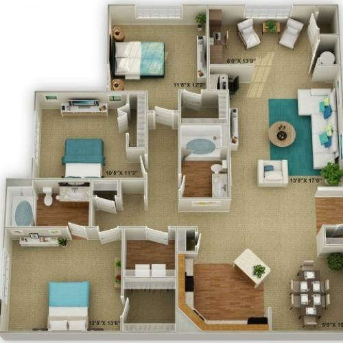 The Legend with Sunroom Three Bedroom Floor Plan