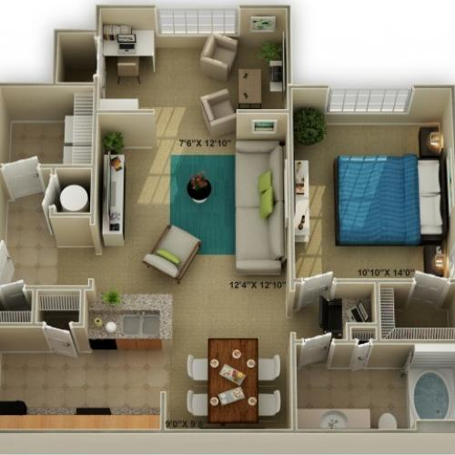 Photo of The Ridgecrest with Sunroom One Bedroom Floor Plan