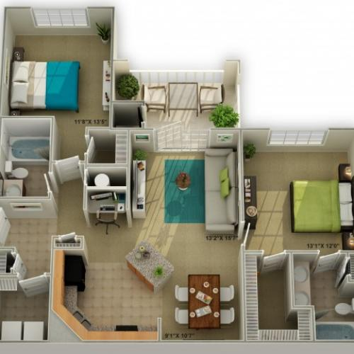 The Brookstone Two Bedroom Floor Plan