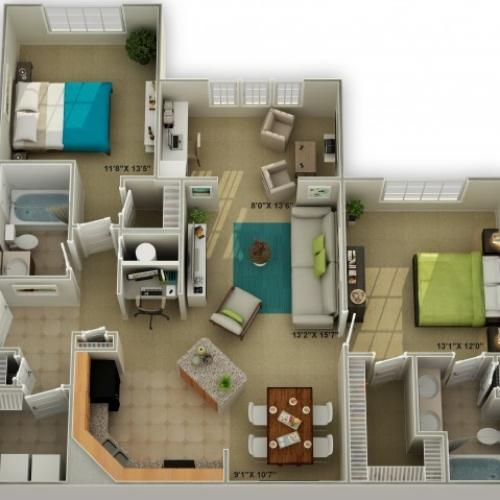Photo of The Brookstone with Shower Two Bedroom Floor Plan