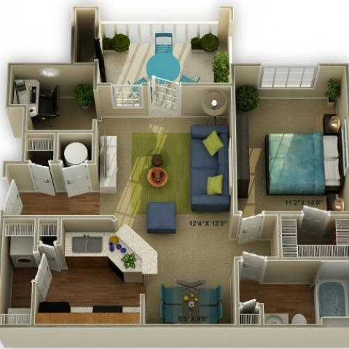 Photo The Meadowview One Bedroom Floor Plan