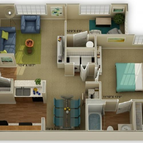 Photo of The Oakwood with Sunroom  One Bedroom Floor Plan