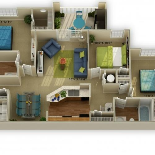 ThePhoto of The Walden Three Bedroom Floor Plan