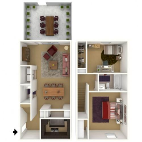 2 Bedroom 1.5 Bath - 2