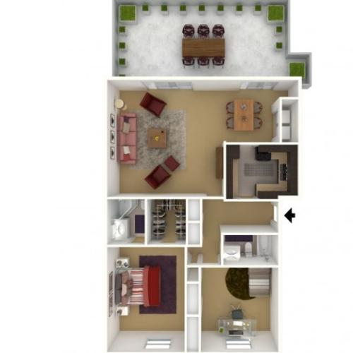 2 Bedroom 2 Bath - 2