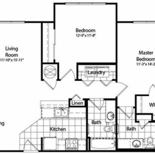 Two Bedroom | Two Bathroom | Classic | 1047 sqft
