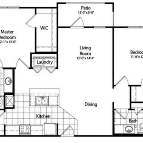 Two Bedroom | Two Bathroom | Deluxe with Sunroom | 1132 sqft