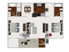 Two Bedroom / Two Bathroom 889 sqft home