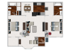 Two Bedroom / Two Bathroom with Morning Room, 991 sqft home