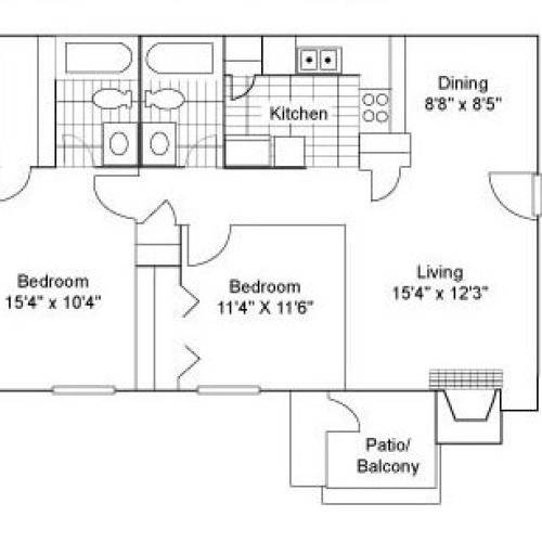 Two Bedroom   Two Bathroom   960 sqft