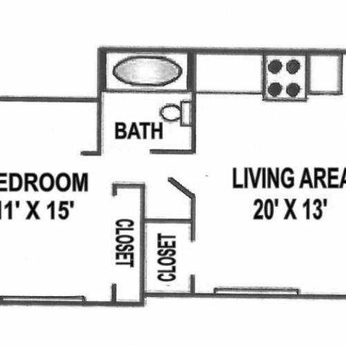 Jr. One Bedroom - Large | 475 Sqft