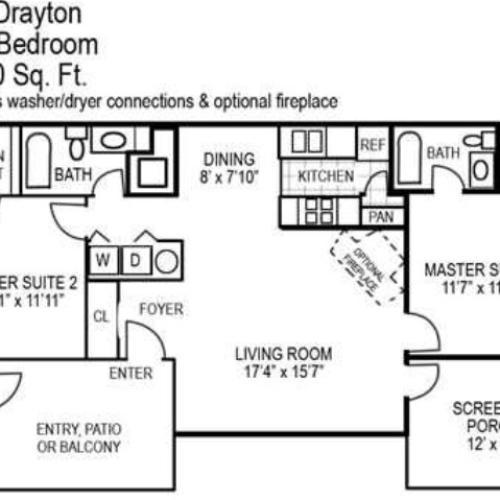 Two Bedroom | Two Bathroom | 1100 sqft