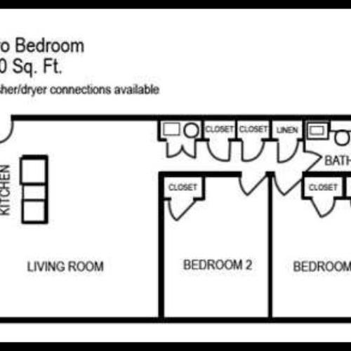 Two Bedroom   One Bathroom   850 sqft
