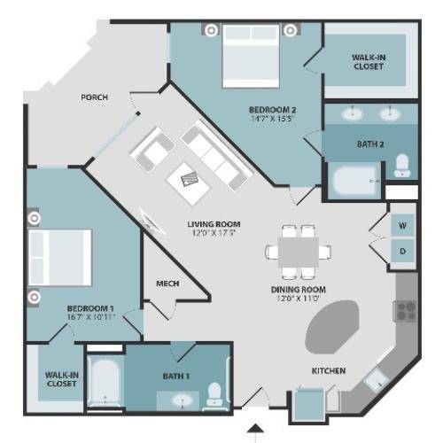 B3ANSI | Two Bedroom | Two Bathroom