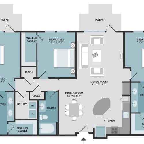 C1 | Three Bedroom | Three Bathroom