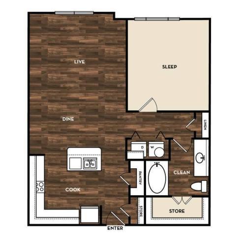 Floor Plan 6 | One Bedroom Apartments San Antonio Tx | 1800 Broadway