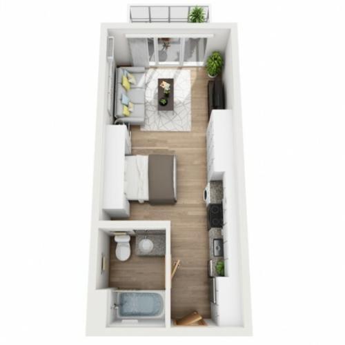 Rhythm studio floor plan | Rhythm | Milwaukee Apartments