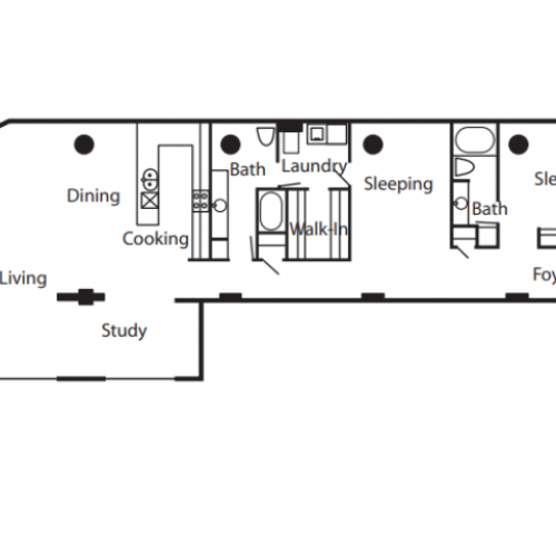 Floorplan of a unit featuring 2 bedroom, 2 bathrooms, and a study.