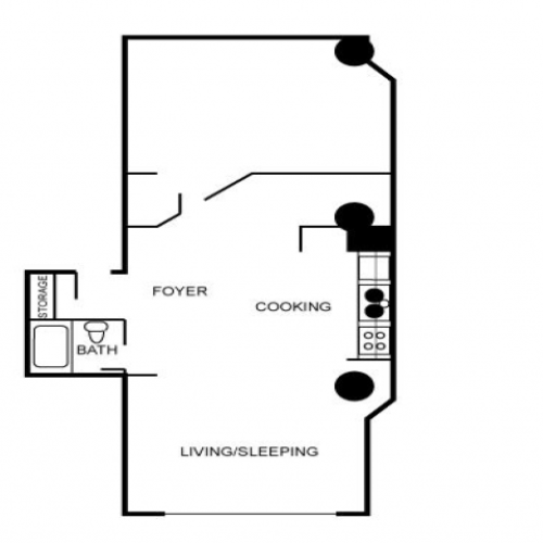 Floor plan of loft featuring a foyer, sleeping area, and kitchen.