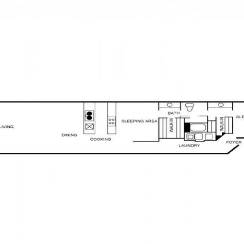 Floorplan featuring two bedrooms, one bathroom, living area, dining area, and a cooking area.