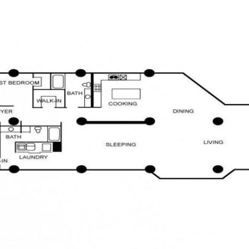 Floor plan featuring two bedrooms, two bathrooms, laundry area, living area, dining area, and kitchen.