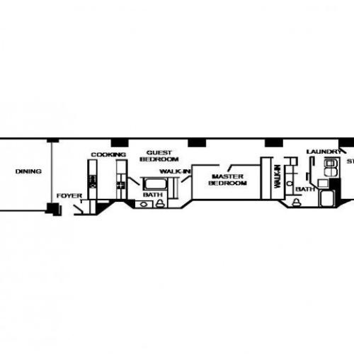 Floor plan of an apartment unit with two bedrooms, 2 bathrooms, foyer, office, living area, dining area, and kitchen.