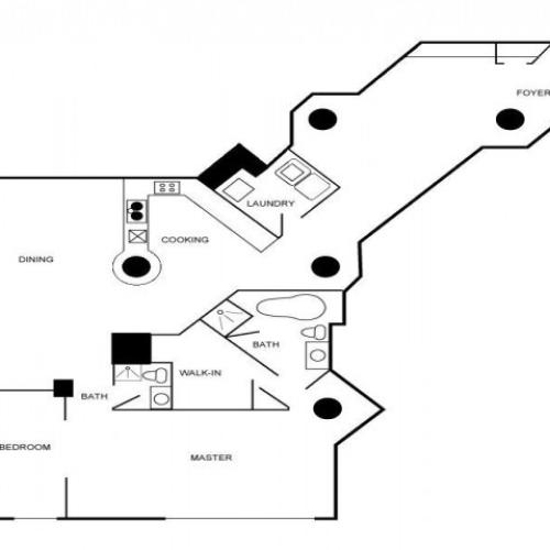 Floor plan of a two bedroom and two-bathroom apartment unit.