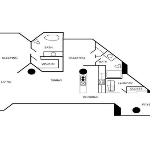 Floor plan of an apartment with two bedrooms, 2 bathrooms, foyer, living area, dining area, and kitchen.
