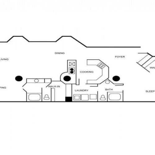 Apartment floor plan featuring two bedrooms, two bathrooms, dining and living areas, foyer, and walk-in closet.