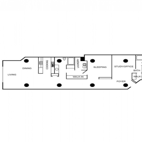 Floor plan for an apartment unit with two bedrooms, two bathrooms, two story dining, and two story living areas.
