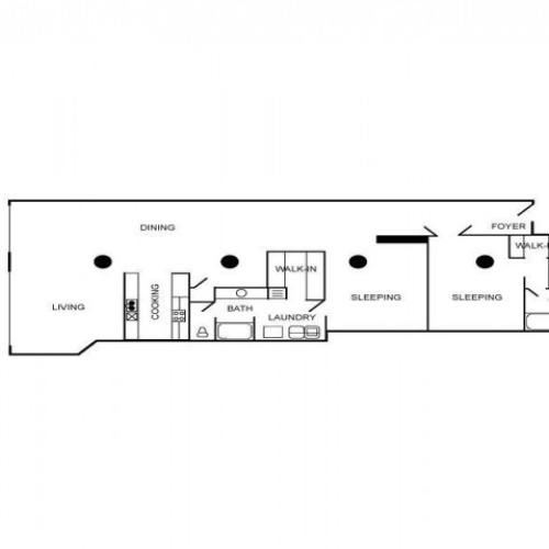Loft apartment floor plan with 2 bedrooms and 2 bathrooms.