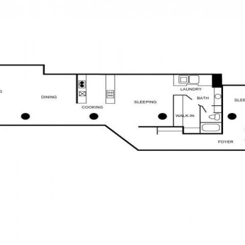 Loft style apartment unit floor plan with 2 bedrooms, 1 bathroom, laundry area, foyer, walk-in closet, dining area, living area, and kitchen.