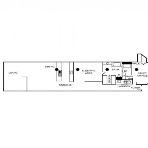 Loft style floor plan with two bedrooms, two bathrooms, foyer, dining area, laundry area, and kitchen.