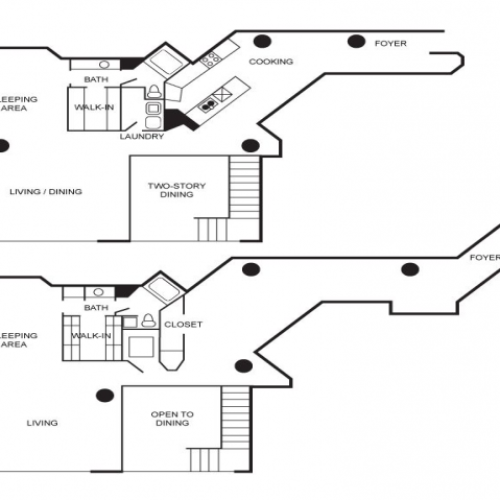 Loft apartment floor plan with 3 bedrooms and 2 bathrooms. 2 story unit.