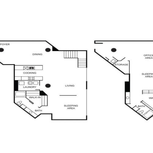 Two-story loft style apartment floor plan featuring two bedrooms, two bathrooms, living area, office area, walk-in closet, kitchen, foyer, and dining room.