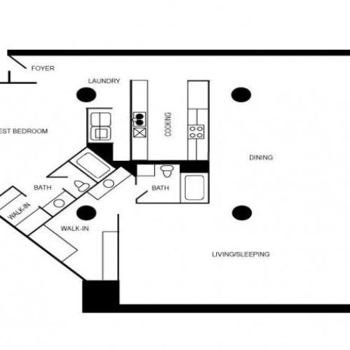 A two bedroom and two bathroom loft apartment floor plan.