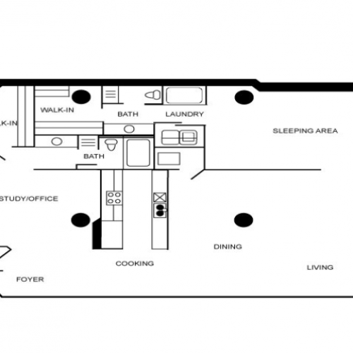 Two bedroom and two bathroom apartment floor plan.