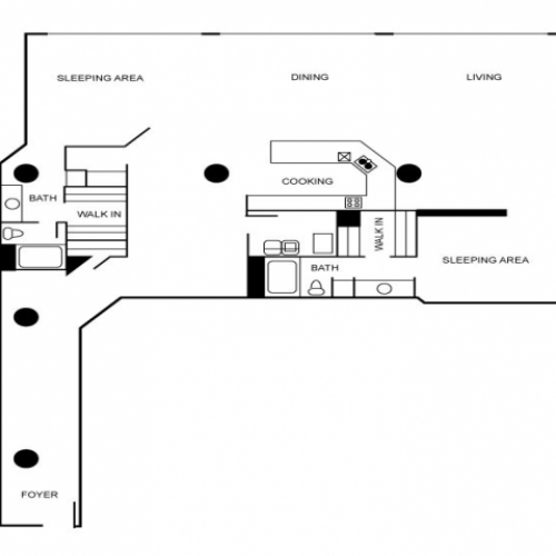 Two bedroom and two bathroom apartment floor plan featuring a kitchen, laundry area, walk-in closet, dining area, and living area.