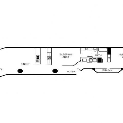 Two bedroom and two bathroom floor plan featuring a foyer, walk-in closet, living area, and dining area.