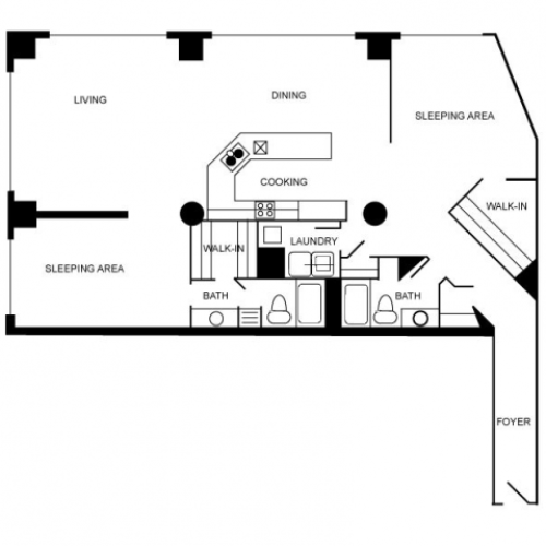 Floor plan of a two bedroom and two bathroom apartment unti.
