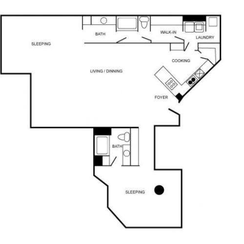 Apartment floor plan featuring two bedrooms and two bathrooms.