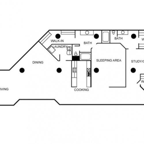 Loft apartment floor plan featuring two bedrooms and two bathrooms.