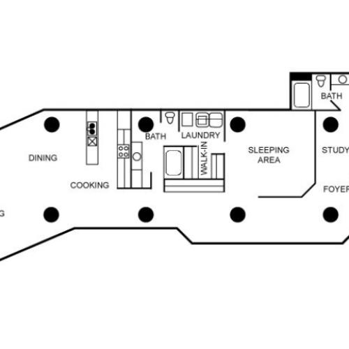 Two bedroom and two bathroom floorplan.