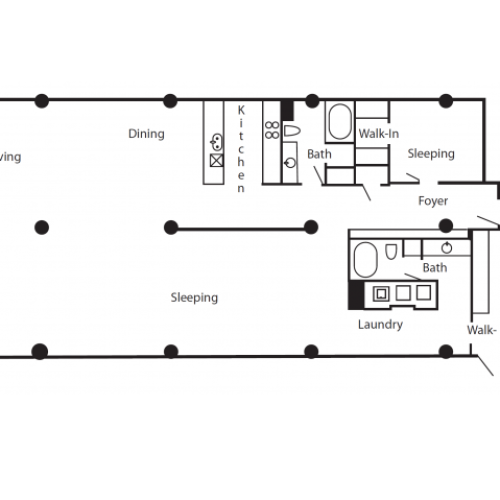 Floor plan for a two bedroom and two bathroom loft apartment.